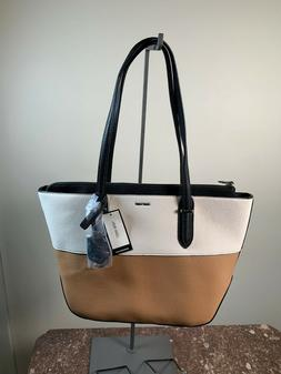 new reana medium tote brown white nwt