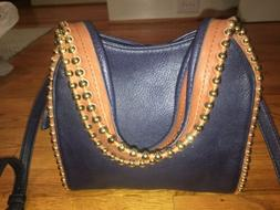 NEW BIG BUDDHA SHOULDER HANDBAG CROSSBODY Navy Blue w/ Tan G