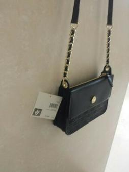 New With Tags ANNE KLEIN EMBOSS LION CROSSBODY PURSE Black C