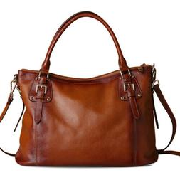 New Women's Vintage Style Soft Genuine Leather Tote Large Sh