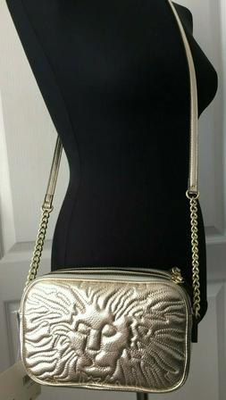 nwt Anne Klein Lion Logo Platinum Gold Quilted Should Crossb