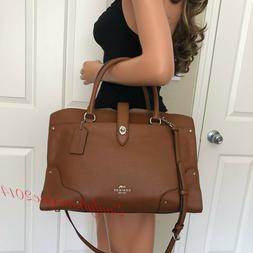 NWT COACH MERCER SADDLE BROWN LEATHER LARGE SATCHEL TOTE SHO