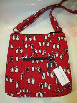 VERA BRADLEY PLAYFUL PENGUINS RED Hipster Cross Body Purse N