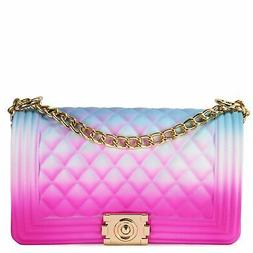 QUILTED RAINBOW SILICONE SHOULDER BAG