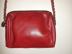 Nine West Red Soft Leather/Red& Gold Chain Strap Bag