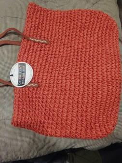 UNDER ONE SKY red straw brown strap lined ultimate beach bag
