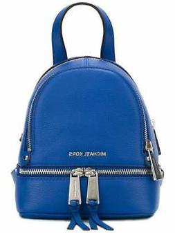 MICHAEL KORS RHEA ZIP XS BACKPACK ELECTRIC BLUE LEATHER SILV