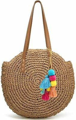 Molodo Round Summer Straw Large Woven Bag Purse For Women Vo