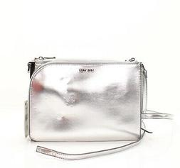 Nine West Silver Metallic Darcelle Small Faux Leather Crossb