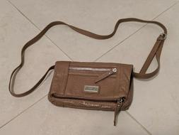 Kenneth Cole REACTION Small Beige Gray Foldover Crossbody Ba