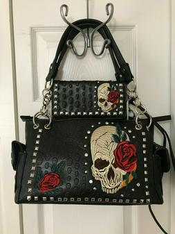 SUGAR SKULL with ROSES CONCEALED CARRY HANDBAG with CROSSBOD