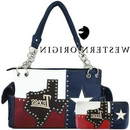 The Lone Star Flag of Texas Studded Concealed Carry Purse Wo