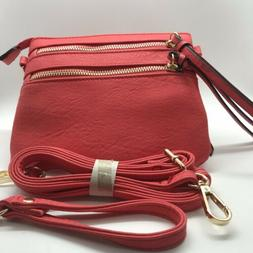 Alyssa Vegan Faux Leather Coral Multi Zipper Crossbody Clutc