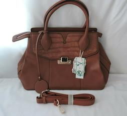 Alyssa Vegan Lead Free Brown Faux Leather Tote Hand Bag Purs