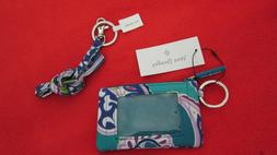 Vera Bradley Lighten Up Zip ID and Lanyard in Waikiki Paisle