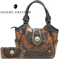 Western Handbag Floral Concho Brown Concealed Carry Purse Sh