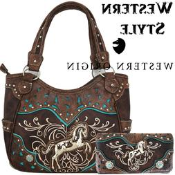Western Horse Handbag Concealed Carry Purse Women Country Sh
