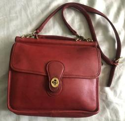 Coach Willis Vintage 9927 red leather 90's Shoulder Bag Cr