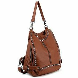 UTO Women Backpack Purse PU Washed Leather Rivet Studded Con