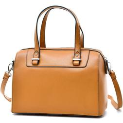 Women Handbags Barrel Body Faux Leather Satchel with Removab