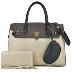 Women Large Handbags Faux Leather Satchel Purse with Matchin