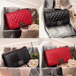 Women's Quilted Chain Black Bag Ladies Leather Shoulder Bag