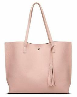 Womens Soft Faux Leather Tote Shoulder Bag from Dreubea Big