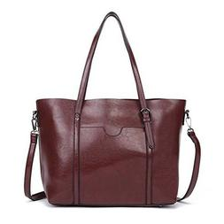 Dreubea Women's Soft Leather Handbag Big Capacity Tote Sho